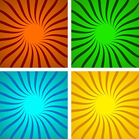 Set of colored pop art backgrounds with sunbeams and dots. Vector Illustration. Sunbeams, halftone background
