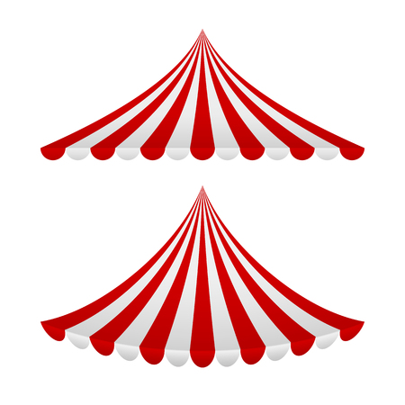 Striped red and white tent. Vector illustration Ilustração