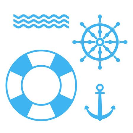 ship steering wheel: Set of marine objects: anchor, ships wheel, lifebuoy, waves. Vector illustration. Set of blue marine signs.