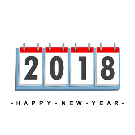 Calendar icon 2018 in flat design. Vector illustration. Happy New Year 2018