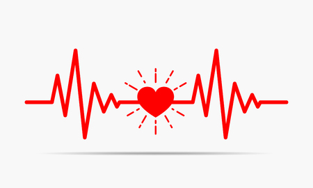 Red heart icon with sign heartbeat. Vector illustration. Heart in flat style.