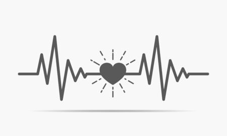Gray heart icon with sign heartbeat. Vector illustration. Heart in flat style. Çizim