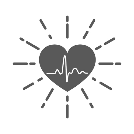 Gray heart icon with sign heartbeat. Vector illustration. Heart in flat style. Illustration