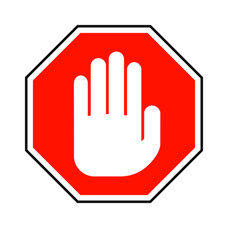 No entry hand sign. Vector illustration. Red stop hand sign isolated on white background Vectores