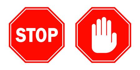 Segnali di stop in design piatto. Illustrazione vettoriale Segnali di stop rosso isolati su sfondo bianco