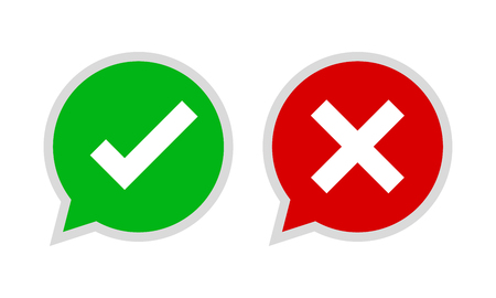 Yes and No check marks. Vector illustration. Red and green check marks on white background.