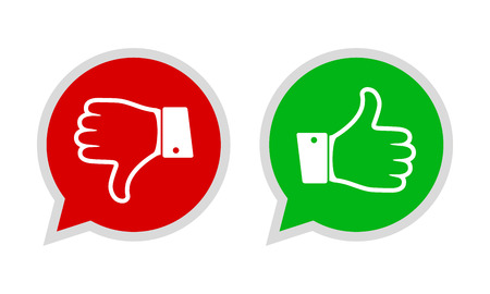 Thumb up and down red and green icons. Vector illustration. I like and dislike round buttons in flat design. Ilustração
