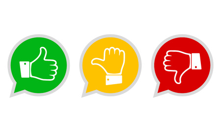Hand with the thumb in green, yellow and red colors. Concept of voting. Vector illustration. Zdjęcie Seryjne - 90745791