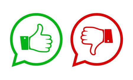 Pollice su e giù per le icone rosse e verdi. Illustrazione vettoriale Mi piace e non mi piace i pulsanti rotondi in design piatto.