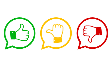 Hand with the thumb in green, yellow and red colors. Concept of voting. Vector illustration.