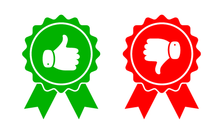 Thumb up and down red and green icons. Vector illustration. I like and dislike round buttons in flat design. Illustration