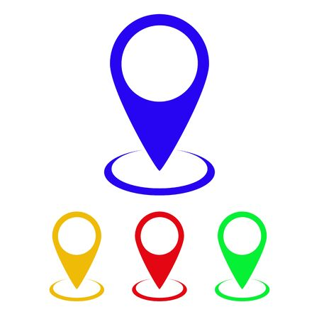 Set of map point icons in flat design. Vector illustration. Colored map markers on white background.