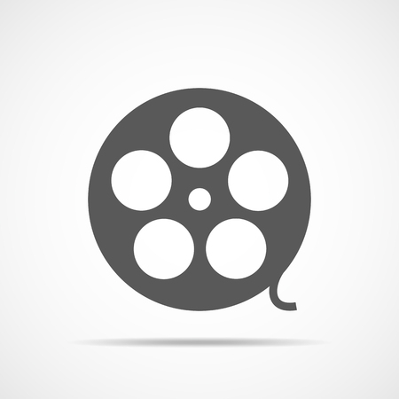 Filmstrip in flat design. Vector illustration. Gray videotape or film reel, on a light background.