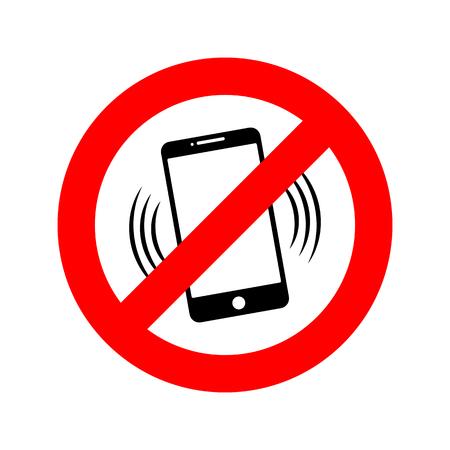 GEEN telefoon teken. Vector illustratie GEEN mobiele telefoon. Gebruik uw telefoon niet Stock Illustratie