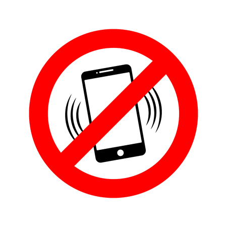 NO phone sign. Vector illustration. NO cell phone. Do not use your phone Çizim