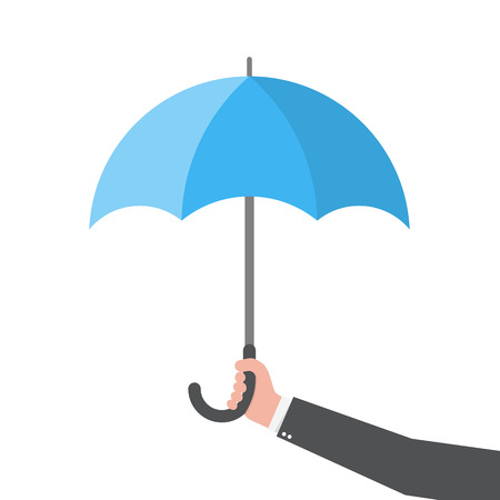 Umbrella in the hand, isolated. Vector illustration. Umbrella in flat design Illustration