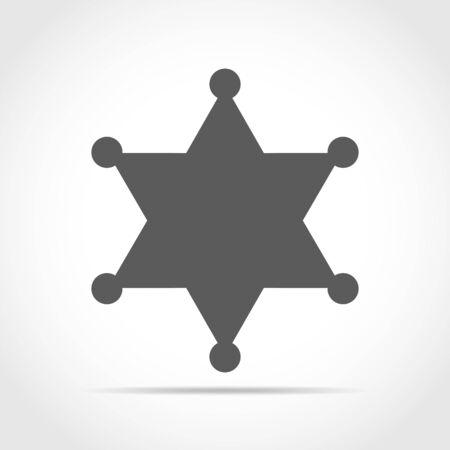 Gray sheriff star on light background. Vector illustration. Sheriff star in flat design