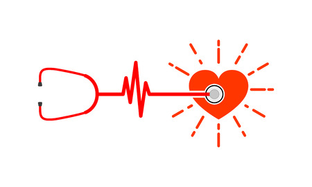 Red heart with stethoscope and heartbeat sign. Vector Illustration. Concept of the human health. Illustration