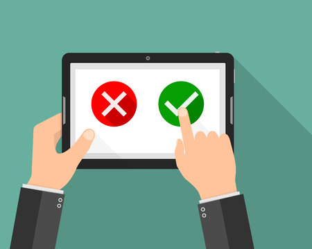 Hand holding tablet with Yes and No buttons. Vector illustration. Concept of voting online