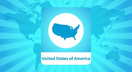 Map of the United States of America. Vector illustration. Blue USA map on abstract background