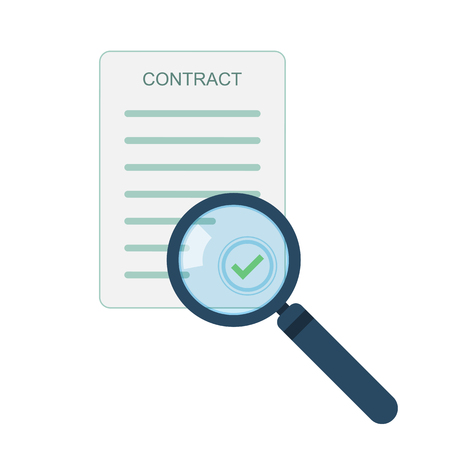 Magnifier and contract icon in flat design. Vector illustration. Analytics concept