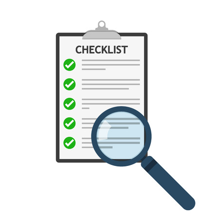 Magnifier and checklist icon in flat design. Vector illustration. Analytics concept