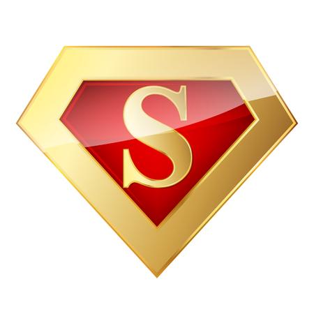 Golden Superhero logo with letter S. Vector illustration. Glossy superhero logo on white background.