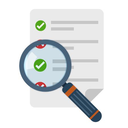 Ícone de lupa e lista de verificação em design plano. Ilustração vetorial Conceito de análise