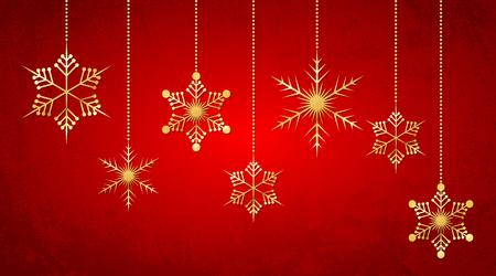 Celebratory red background with golden hanging snowflakes. Vector illustration. Merry Christmas greeting card.