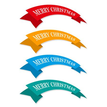 Set of colored Christmas ribbons or ribbons.