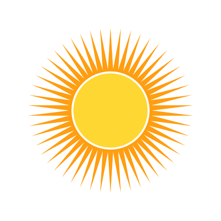 Yellow sun icon in flat design. Vector illustration. Symbol of the sun, isolated on white background