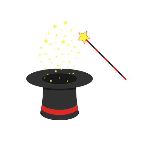 Black magic hat and magic wand with flying stars.