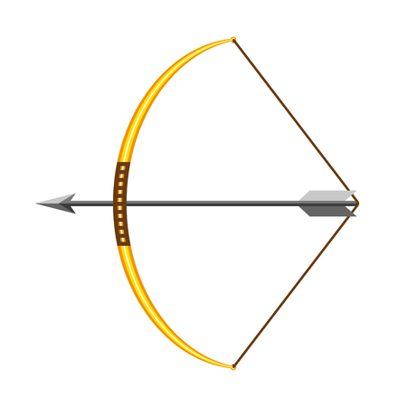 Bow and arrow icon in flat design. Vector illustration. Bow with arrow, isolated on white background Illustration