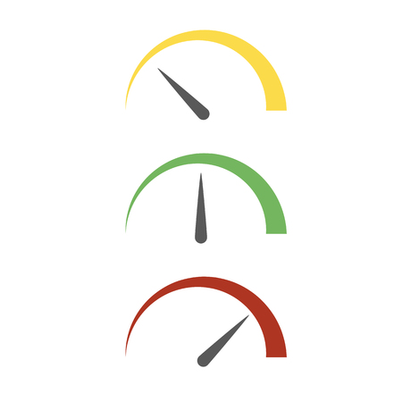 Set of colored speedometer icon in flat design. Vector illustration. Abstract measurement sign isolated Illusztráció