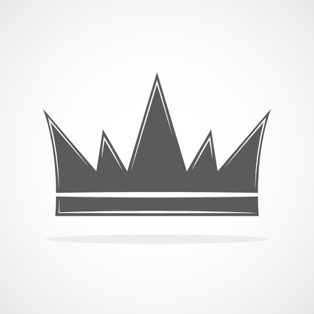 Gray crown icon. Crown silhouette isolated on white background. Vector illustration.