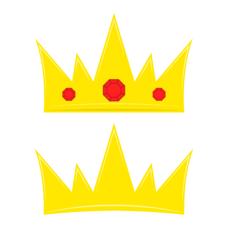 Two crown icons in flat design. Vector illustration. Golden royal crowns isolated