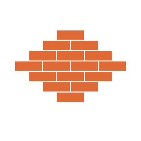 Brick wall icon in flat design. Vector illustration. Orange symbol of construction. Illustration