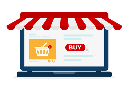 Simple open laptop with screen buy, in flat design. Vector illustration. Concept online shopping