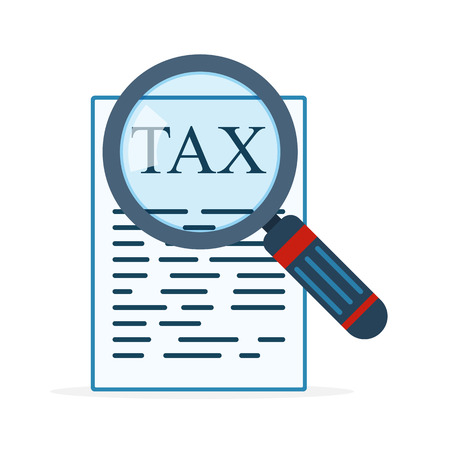 Magnifier and tax form in flat design. Vector illustration. Tax payment concept icon