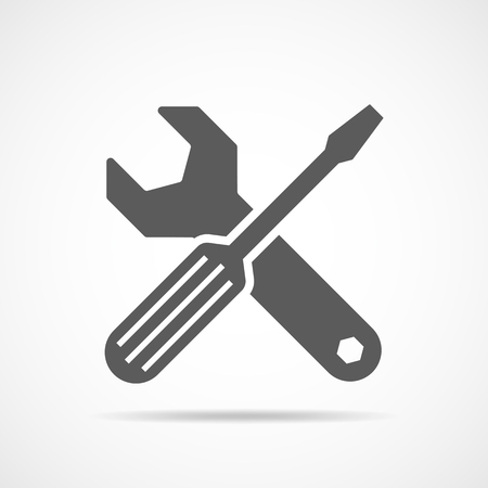 Wrench and screwdriver icon in flat design. Vector illustration. Settings tools icon on light background
