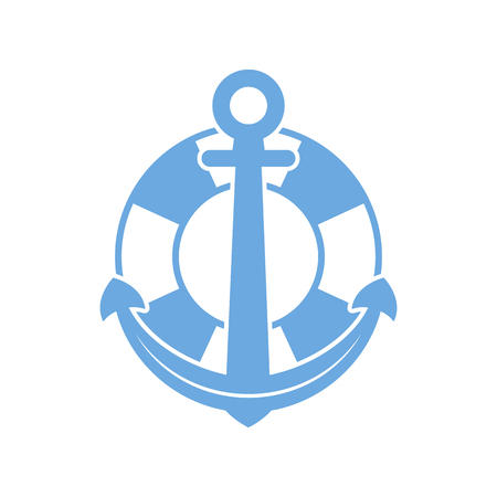 Maritime anchor and lifebuoy in flat design. Vector illustration. Nautical travel concept Illustration