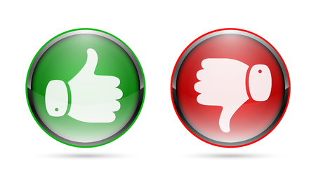 Thumb up and thumb down buttons. Vector illustration. I like and dislike concept. Vectores