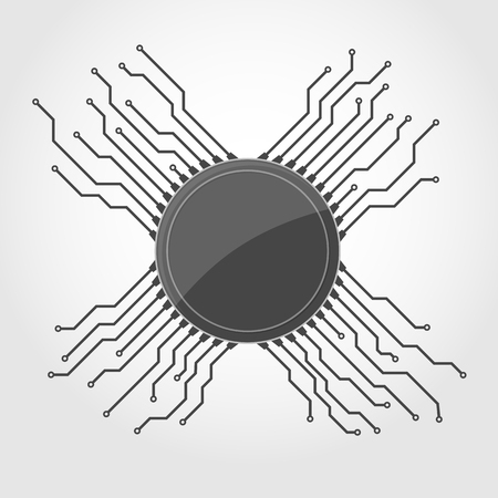 Microchip icon in flat design. Vector illustration. Microcircuit symbol isolated