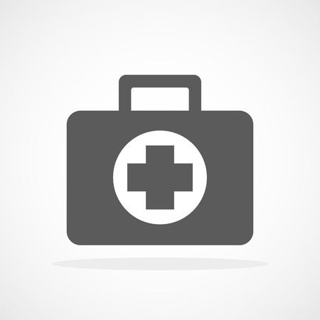 First aid icon in flat design. Vector illustration. Gray First aid sign isolated