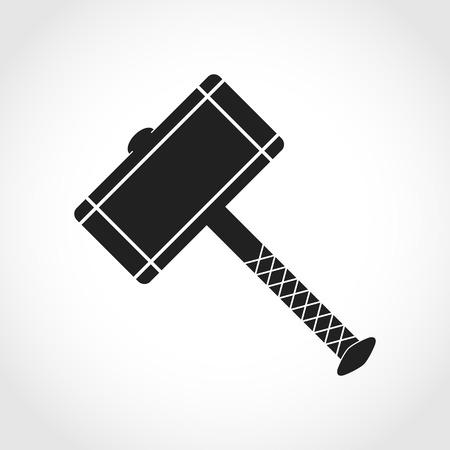 Thor Hammer-pictogram in een plat ontwerp. Vector illustratie Thor Hammer, geïsoleerd op lichte achtergrond Stock Illustratie