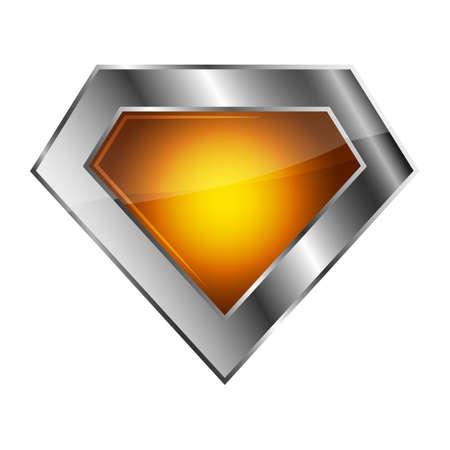 Bright silver superhero logo on white background. Vector illustration. Glossy diamond logo.