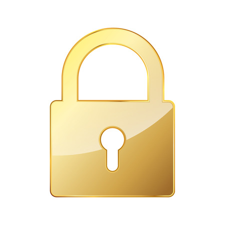 Gold lock icon. Vector illustration. Golden padlock sign, isolated on white background