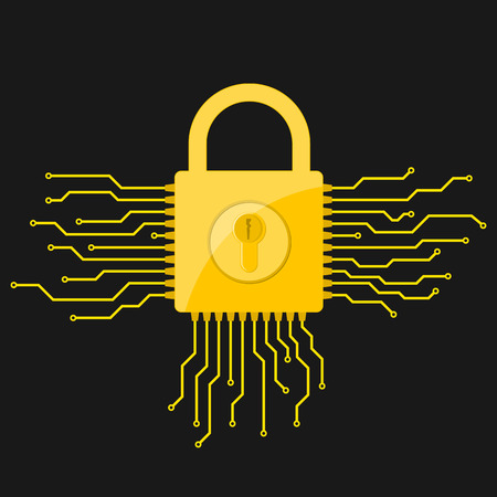 Yellow electronic lock icon in flat design. Vector illustration. Information security concept, on black background
