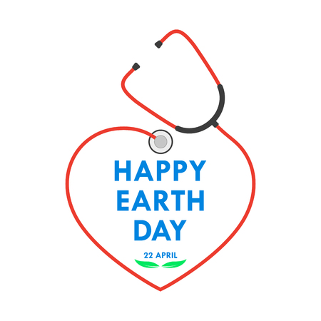 Happy Earth Day logo with stethoscope in flat design. Vector illustration. Happy Earth Day, ecology concept.