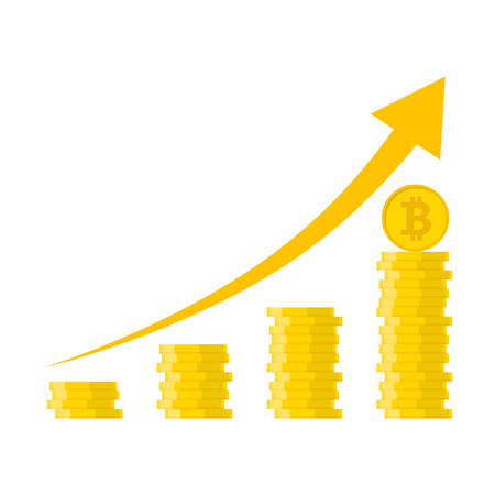 Heap of the golden bitcoins in flat design. Vector illustration. Bitcoin growth concept with arrow up